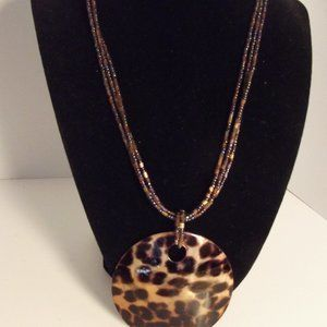 Large Vintage Pendant Necklace Animal Print Shell